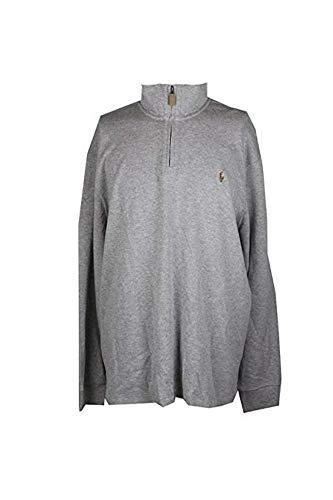 Polo Ralph Lauren Men's Half Zip Estate Rib Cotton Sweater (Large, Grey Heather)