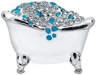 Bubble Bath Enamel Rhinestone Silver 8mm Floating Charm for Memory Lockets 1pc ID-2863