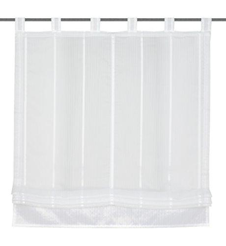 Home Fashion GABI Schlaufenrollo, Polyester, Weiß, 150 x 100 cm