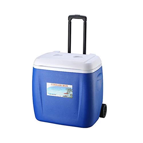 MSQL Tragbarer Eiskühler, Outdoor-Eiskübelkühlschrank mit Rädern, isolierte Hartschalen-Kühlbox, 48-Stunden-Kühllager - 38 l,Blue