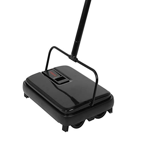 Eyliden Carpet Sweeper, Hand Push Carpet Sweepers, Non-Electric Easy Manual Sweeping, Automatic Compact Broom with 4 Corner Edge Brush for Carpeted Cleaning (Black)