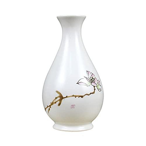 jinyi2016SHOP Maceta Estilo clásico Chino Zen Blanco Florero de cerámica de Boca pequeña Cerámica Adornos de decoración de Arte con Agujero De Drenaje Macetas