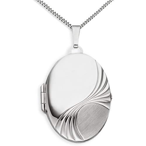 Medaillon XXL mit Kette teilmattiert mattiert verziert oval 925 Sterling Silber zum öffnen für Bildereinlage 2 Fotos Amulett Verzierung - Randverzierung + Kette mit Schmuck-Etui von Haus der Herzen®