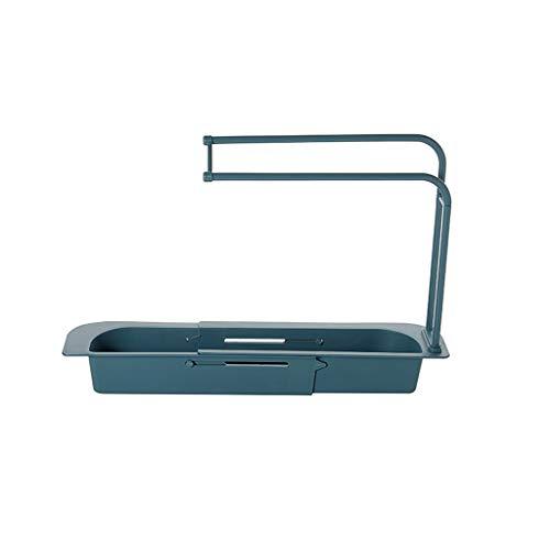 NRRN Organizador de fregadero de cocina, soporte telescópico para fregadero de cocina, estante de drenaje ampliable, elegante organizador de fregadero para fregadero de cocina y lavabo de baño