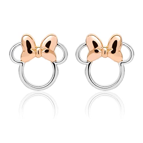 Disney Minnie Mouse Sterling Silver Two Tone Stud Earrings with Pink Bow; Jewelry for Women and Girls