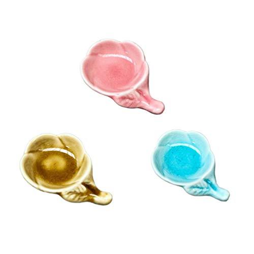 YARNOW 3 Stück Keramik Gewürzgeschirr Pflaumenblüte Glasur Sauce Gerichte Blumenmuster Sauce Dip Schalen Vorspeisen Teller (Rosa Hellblau Gelb)