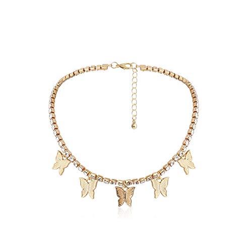 H2okp-009 Mode Frauen Schmetterling Halskette Strass Choker Schlüsselbein Kette Handgemachte Minimalistische Halloween Weihnachten Geburtstag Abschlussfeier Geschenk Golden Einheitsgröße