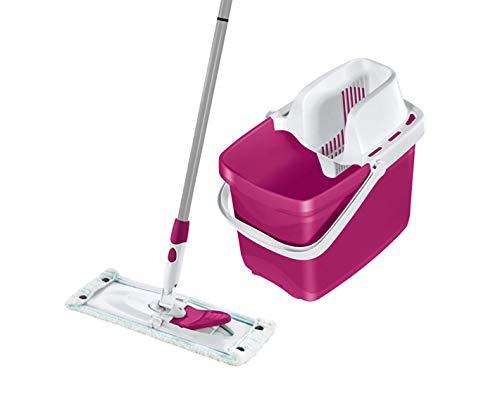 Leifheit Set Combi M Color Edition Pink, mit rückenschonendem Wischer, Wischtuchpresse für effektives Auswringen, 20L Putzeimer, reinigungsstarker Bodenwischer mit Click-System