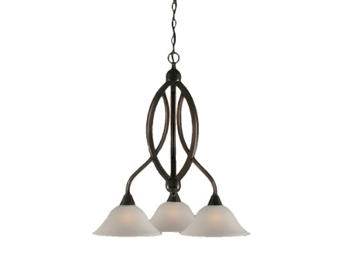 Toltec Lighting 263-BC-512 Bow Three-Light Down light Chandelier Black Copper Finish with Dew Drop Glass Shade, 10-Inch