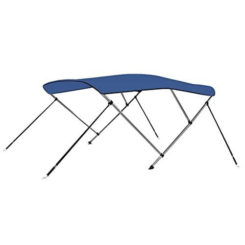 vidaXL Toldo Bimini de 3 Arcos Techo de Embarcación Barco Protegedor de Sol Luz Lluvia Parasol Altura Ajustable Recubrimiento de PU Azul