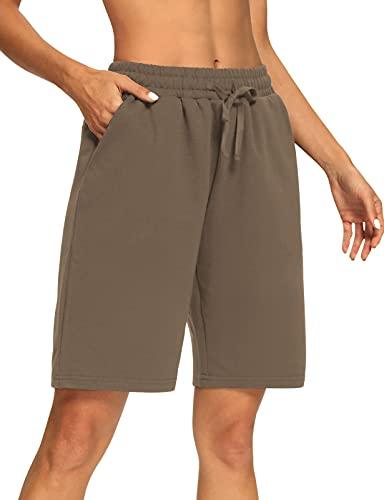 Sarin Mathews Womens Yoga Shorts Athletic Drawstring Bermuda Workout Pajamas Lounge Sweat Shorts with Pockets Coffee XL