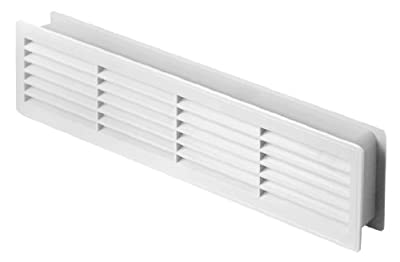 """Bathroom Door Air Vent Grille 440mm x 120mm / 18"""" x 5.3 inch Two Sided Ventilation Cover (White) by Awenta"""
