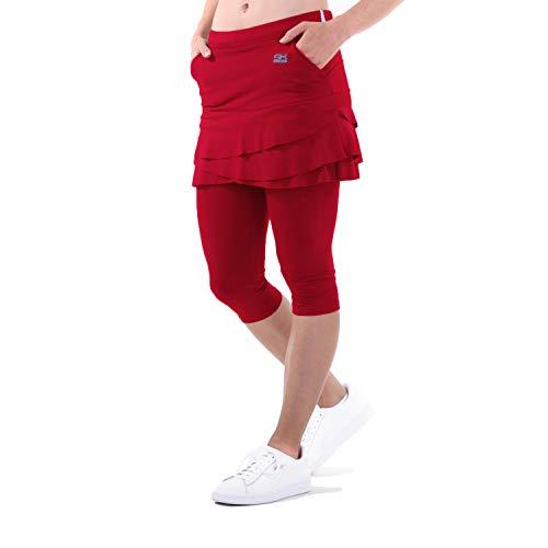 Sportkind Mädchen & Damen Tulip Tennis, Sport, Lauf 2-in-1 Leggings mit Rock & Taschen, Skapri, Bordeaux rot, Gr. XL