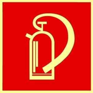Brandschutzzeichen Feuerlöscher # Kunststoff langnachleuchtend # selbstklebend # 148 x 148mm