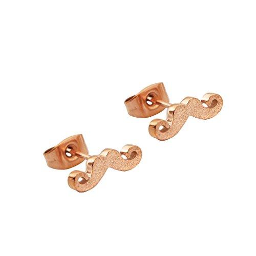 Chichengnian - Pendientes de oro rosa con bigote