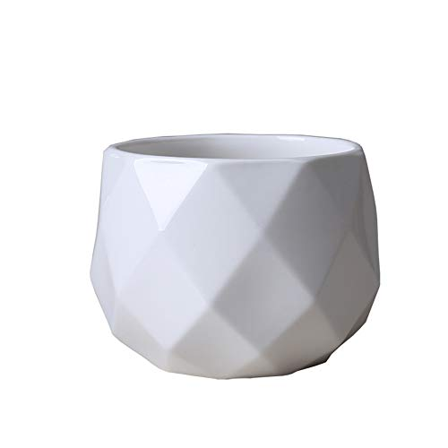 FYHX Céramique Pot de Fleurs Nordique Creative Bureau Décoration Artisanat Cache-Pot Planteur Flowerpot Vase Décoration Cadeau,Blanc,14.8x11.8cm