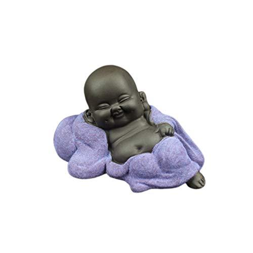 SUPVOX Laughing Buddha Statue Monk Figurine Baby Crafts Dolls Maitreya Feng Shui Ornaments Gift Purple