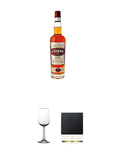 Eddu Silver Buckwheat Whisky de Bretagne (France) 0,7 Liter + Nosing Gläser Kelchglas Bugatti mit Eichstrich 2cl und 4cl 1 Stück + Schiefer Glasuntersetzer eckig ca. 9,5 cm Durchmesser
