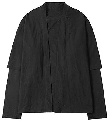 LifeHe Men's Japanese Vintage Cotton Blends Kimono Cardigan Jackets Shirts False 2 pcs