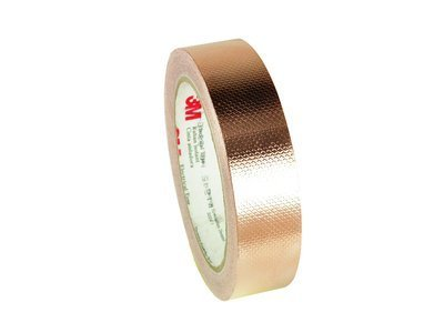 3M 1245 EMI Embossed Copper Shielding Foil Adhesive Tape, 4 mil Thick, 18 yds Length x 1' Width