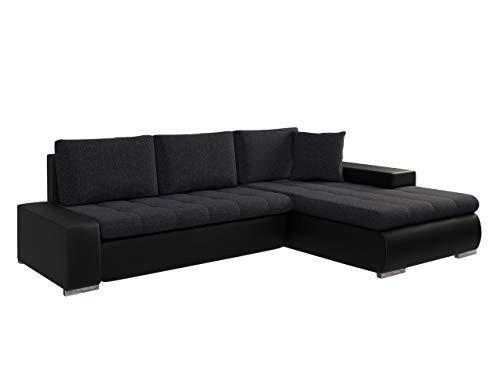 Mirjan24 Elegante Sofa Orkan Mini mit Schlaffunktion und Bettfunktion, Eckcouch Ecksofa mit Bettkasten, Couch L-Sofa Große Farbauswahl, Beste Qualität (Ottomane Universal, Soft 011 + Boss 12)