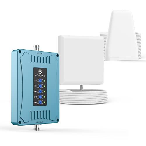 ANNTLENT ANTLENT Amplificador de señal de teléfono móvil de 5 Bandas, Compatible con Todos los operadores, Aumenta Las señales de teléfono móvil 3G 4G, Banda 1/3/7/8/20.