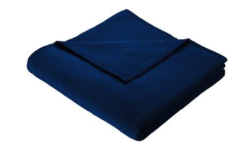Biederlack plaid, 60% katoen, ingezet veloursband, 150 x 200 cm, donkerblauw, Orion Cotton, 240011