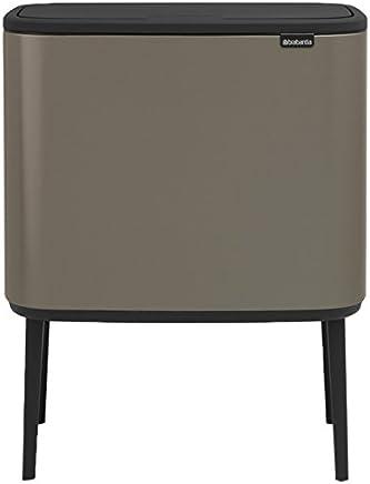 Brabantia 316203 BO Touch 垃圾桶,不锈钢,54 x 31.5 x 68 厘米 Platinum 3 x 11 Liter