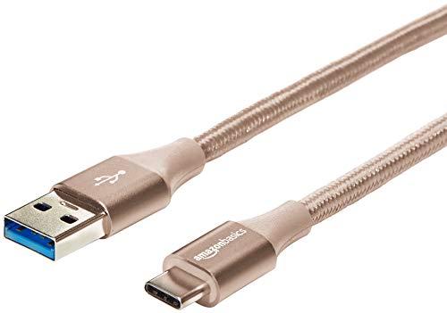 AmazonBasics - Verbindungskabel, USB Typ C auf USB Typ A, USB-3.1-Standard der 1. Generation, doppelt geflochtenes Nylon, 3 m, Gold