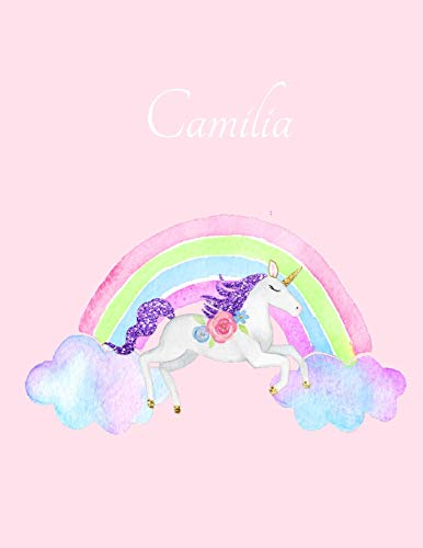 Camilia: Camilia's Name Personalized Cute Unicorn Pink Cover Writing Notebook 50 Wide Ruled Lined Pages 8.5