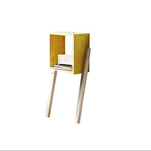 H-ei Couchtisch Vollholz-Multifunktionsgestell Nordisches Bücherregal Moderner minimalistischer Freizeit-Blumenstandplatz (Color : Yellow)