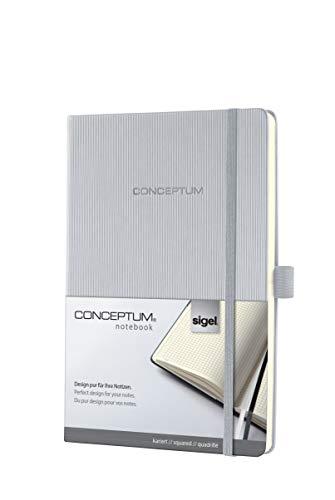 Sigel CO120 notitieboek, ca. A5, blanco, hardcover, zwart, CONCEPTUM geruit lichtgrijs