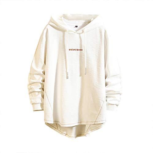 Xmiral Kapuzenpullover Herren Mode lässig Hut Guard Reine Farbe Bequeme Pullover Große Größe Basic Sweatjacke Pullover Hoodie (Weiß,3XL)