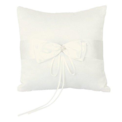 Housse Coussin pour alliances ivoire satin faux perles fleurs mariage 10*10CM