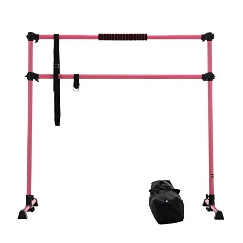 ZELUS 5ft Portable Ballet Barre for Home Gym   Freestanding Dance Exercise Equipment for Home Workouts Fitness Flexibility Training with Stretch Band and Tote (Pink)