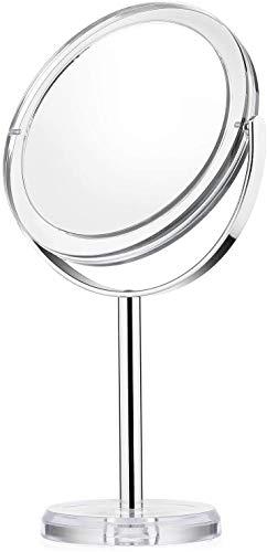 Beautifive Espejos de Maquillaje con Aumento 1x/7x, Espejo de Mesa de Sobremesa de 6'' de ancho, 360 de ángulo de rotación, Espejo Cosmético con Soporte, Estilo Retro