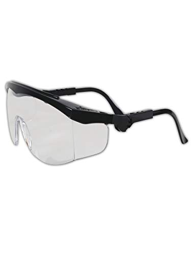 MCR SAFETY TK110 Tomahawk Wraparound Safety Glasses with Side Shields, 295829, Standard, Clear Lenses with Black Frame