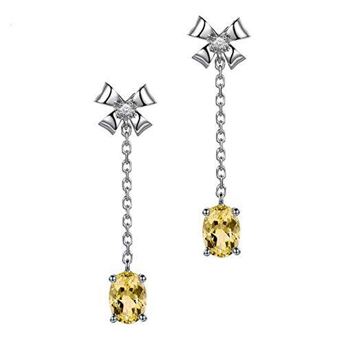 DJMJHG Pendientes de Piedras Preciosas de Amatista Ovalada de Moda Pendientes de Gota en Forma de Bowknot de Plata de Ley 925 para Mujeres Regalos de BodaD