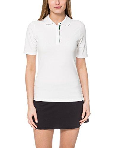Ultrasport Tennispoloshirt Auckland - Polo para Mujer, Color Blanco/Verde, Talla M