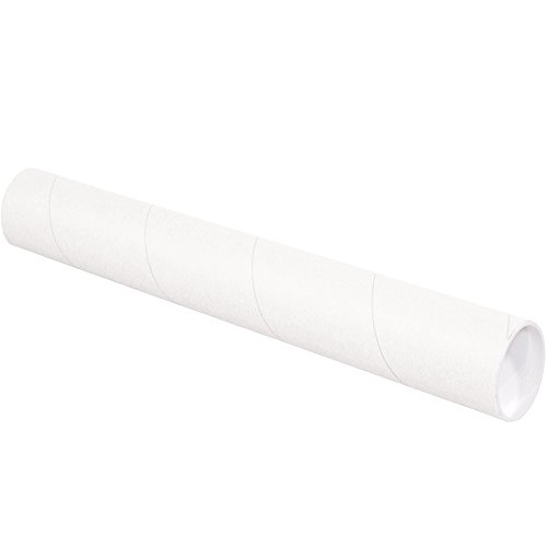 """Aviditi White Mailing Tubes with Caps, 3"""" x 15"""", Pack of 24, for Shipping, Storing, Mailing, and Protecting Documents, Blueprints and Posters"""