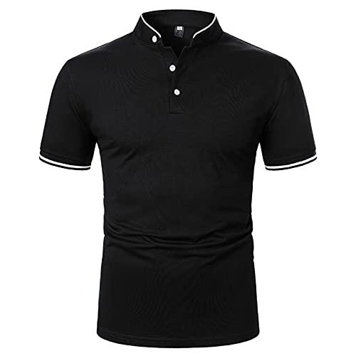 Polo para hombre, camisa de negocios, camisa de manga corta, cuello redondo, corte ajustado, elástico, monocolor, para verano, deporte, tenis, golf, cuello en V