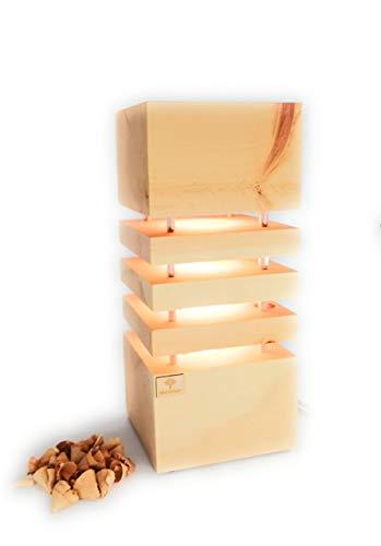 Holzglanz - Design LED-Zirbenlampe 14 x 14 x 33 cm - hochwertige Schlafzimmer-Lampe aus Zirbenholz - Duftlampe mit angenehmen Zirbenduft - Handgefertigt in Österreich