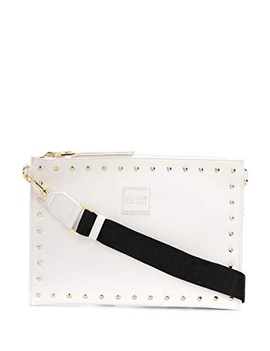 Versace - Bolso de mano con correa extraíble, tachuelas vaqueras y costura, color blanco
