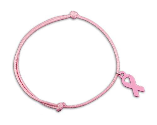 Ajustable Lazo Rosa pulsera de cuerda (en una bolsa (1pulsera–venta al por menor)