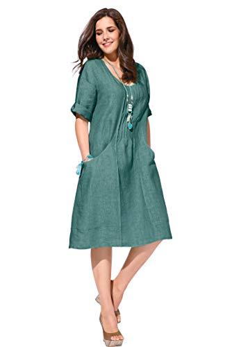 ANNA AURA Damen Kleid aus 100% Leinen mit 3/4-Arm und Biesen