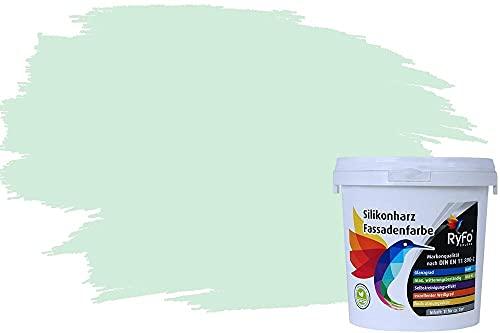 RyFo Colors Silikonharz Fassadenfarbe Lotuseffekt Trend Aloegrün 1l - bunte Fassadenfarbe, weitere Grün Farbtöne und Größen erhältlich, Deckkraft Klasse 1