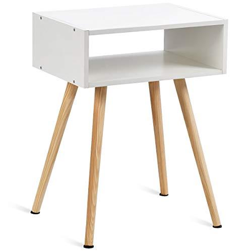 GOPLUS Nachttisch, Nachtkommode aus Holz, Nachtschrank, Couchtisch, Beistelltisch, Flurkommode, Flurtisch, Ablagetisch, Telefontisch, weiß