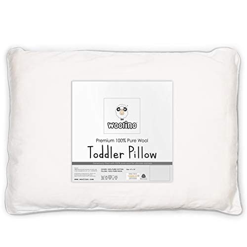"Wool Toddler Pillow, All Natural Kids Pillow, Machine Washable, Oeko TEX 100 Certified, 14""x19"