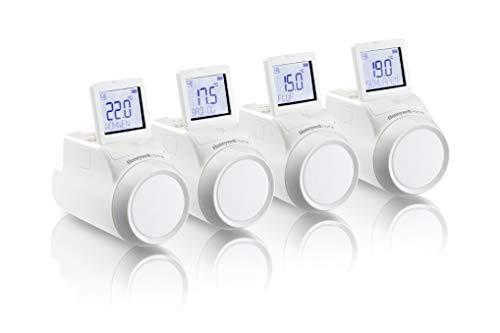 Honeywell Home THR0924HRT evohome Têtes thermostatiques de radiateur TRV sans fil, kit multizone pour l'Europe, blanc (paquet de 4)