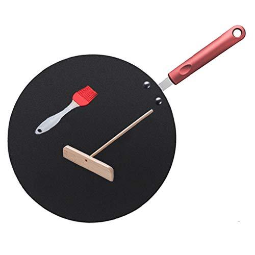 ZPFDM Pan Crepe con esparcidor de bambú, Bandeja de panqueques antiadherentes de 11.8 Pulgadas con Mango de Silicona Aislante para Gas